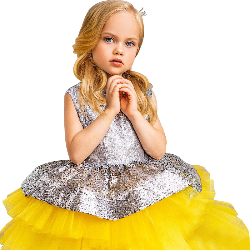 Baby girl elegant long dress princess style party year-old baptism girls clothing 1-5 years old wear 1