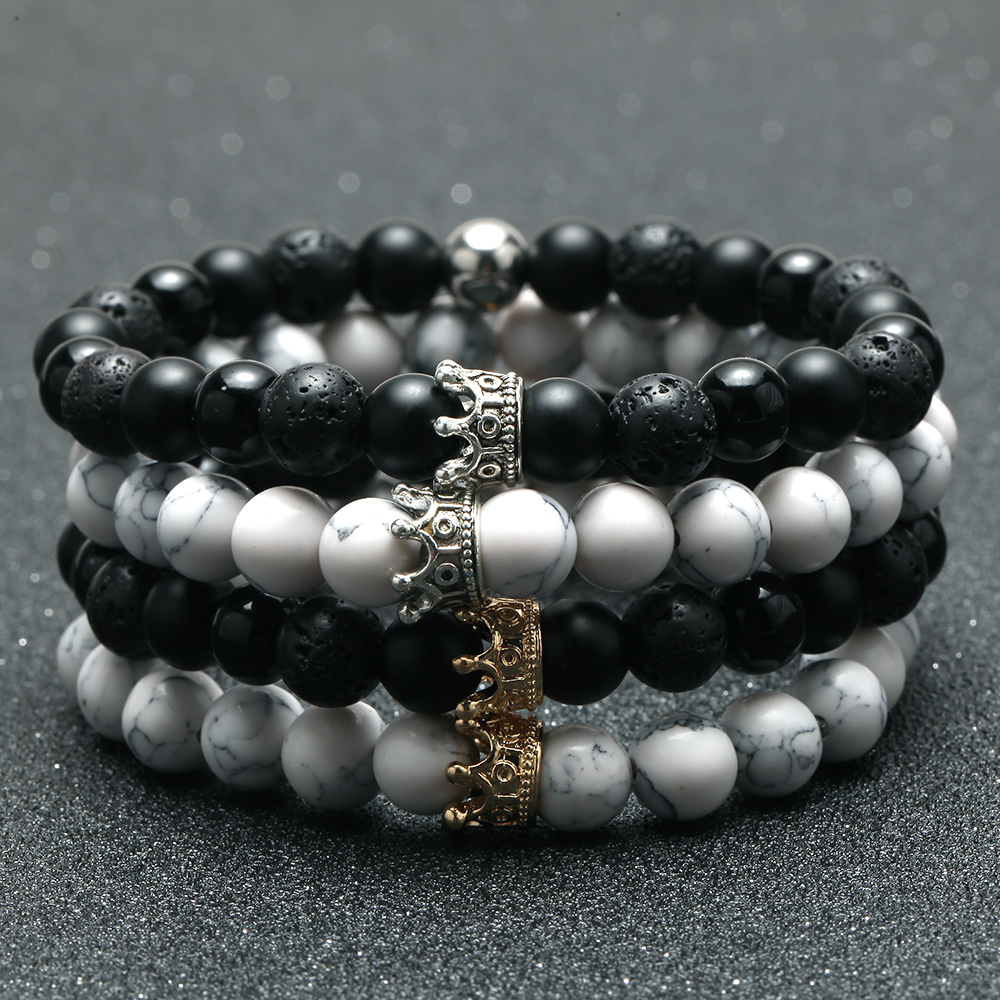 2pcs Charm paired Bracelet for Men gold Crown Women's Bracelets Natural Stone Beads Wristband Boho Couple Bracelet Gifts Friends 1