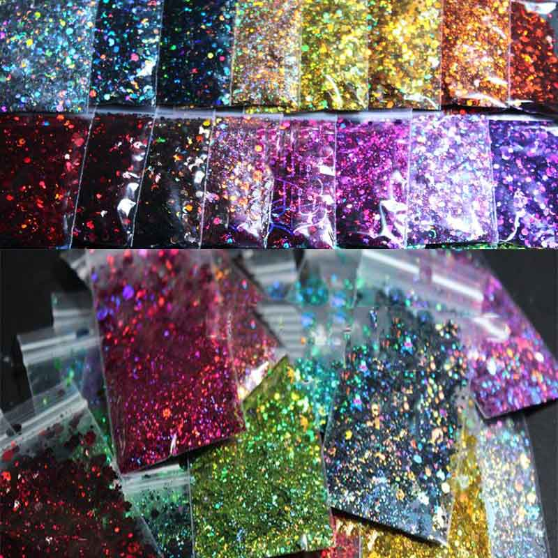 Chunky Colors Bulk Glitter 50grams 24 Colors POLYESTER HOLOGRAPHIC Chunky Holographic Glitter Holographic Glitter Mix -HJ4541077