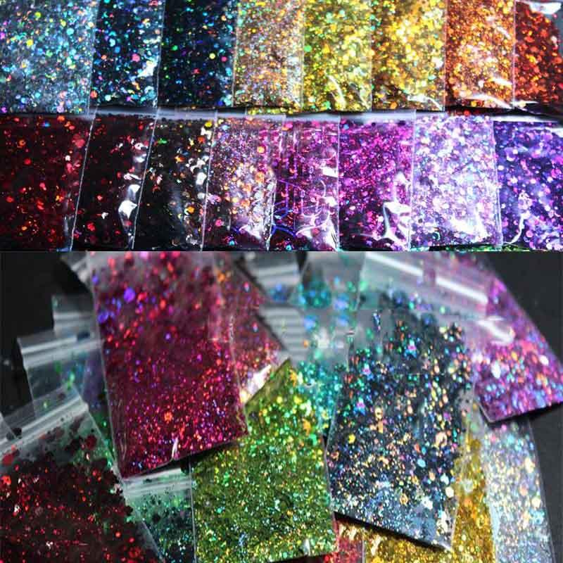 Chunky Colors Bulk Glitter 50grams 24 Colors POLYESTER HOLOGRAPHIC Chunky  Holographic Glitter Holographic Glitter Mix HJ4541077|Nail Glitter| -  AliExpress