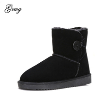GRWG High Quality Snow Boots Women Fashion Genuine Leather Australia Classic Women's Ankle Boots Winter Women Snow Shoes цены онлайн