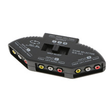 AV Multi Input Output 3-Way RCA Audio Video Selector Switcher Beralih Kotak Hitam(China)