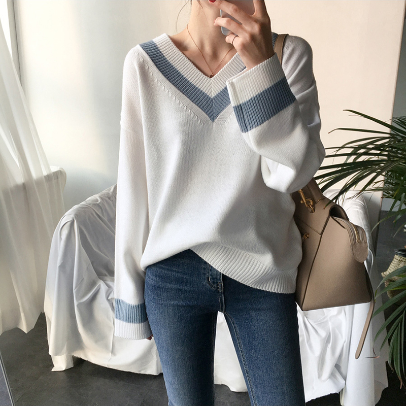 V-neck Women Sweater Casual Autumn Winter Long Sleeve Patchwork Knitted Pullover Minimalist Clothing Korean Style Office Jumper