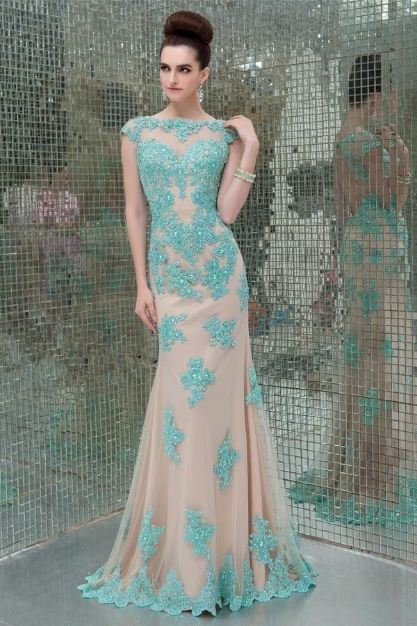 2018 New Sexy Formal Beaded Custom Lace Appliques Cap Short Sleeves High Neck Mermaid Backless Prom Mother Of The Bride Dress