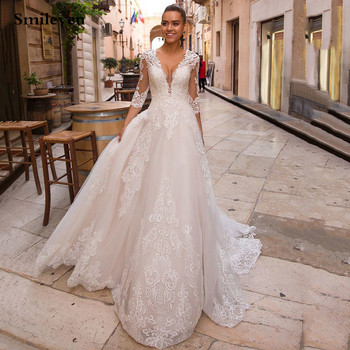 Smileven Sexy V-neck Appliques Tulle Wedding Dress 2020 Corset Back Long Sleeve Princess Boho Bride Lace Up Gowns
