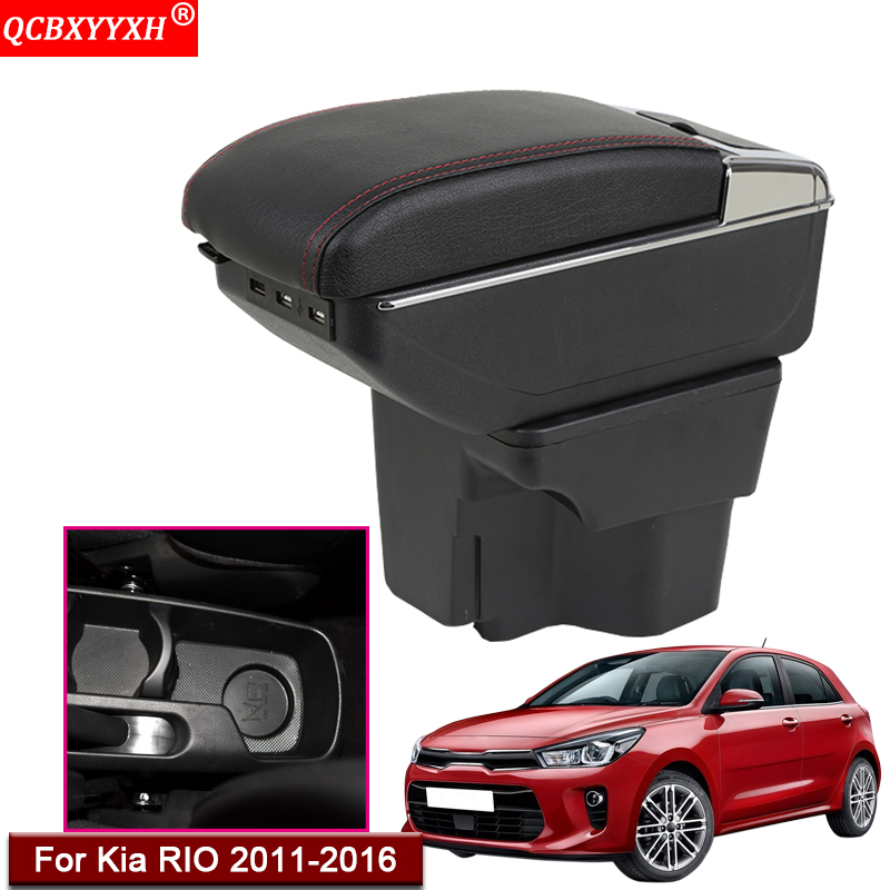 Car Styling ABS With PU Leather Car Armrest Box Center Console Storage Box Holder Case Auto Accessories For KIA Rio 2011 2016|Armrests| |  - title=
