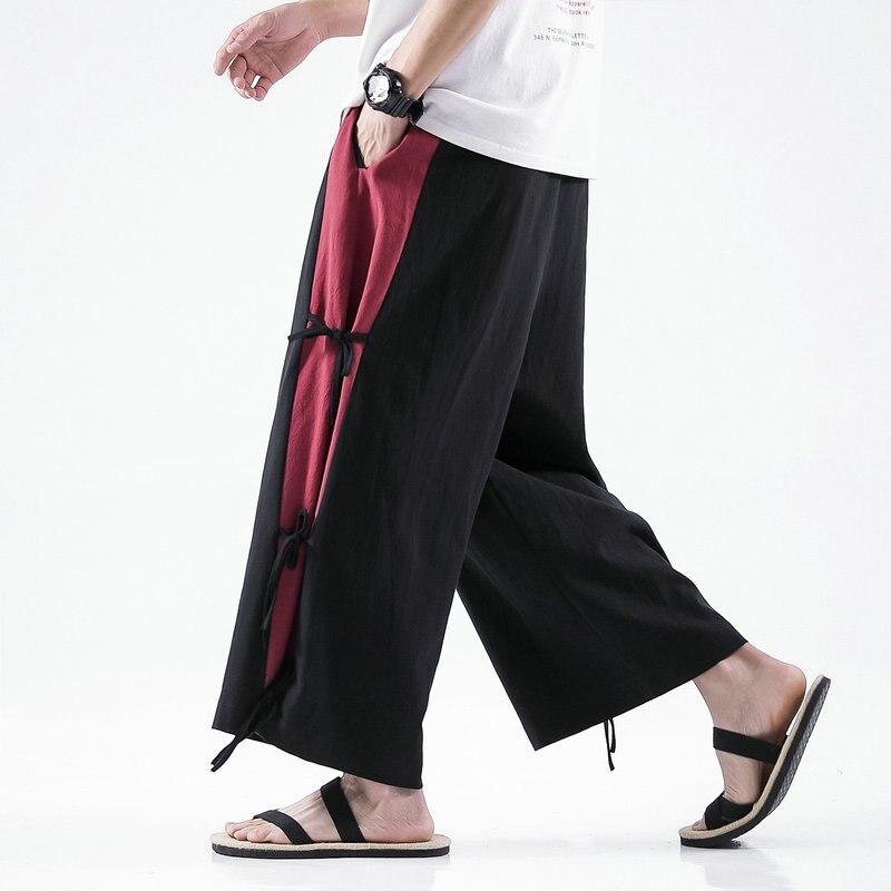 Cotton linen Wide-leg Pants Men Chinese Style Casual Jogging Pants Large 5XL 2020 Spring High Quality Sweatpants Men Pants