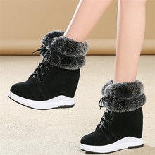 Women Lace Up Genuine Leather Wedges High Heel Snow Boots Female Winter Warm Fur Platform Pumps Shoes High Top Fashion Sneakers 2018 fashion female winter warm lined shoe woman thick high heel long boots ladies genuine leather footwear pritivimin fn60