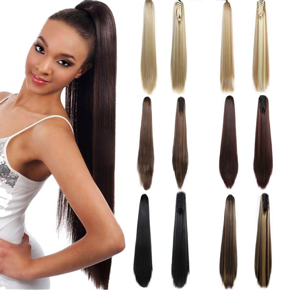 MEIFAN Long Straight Ponytail Wigs Clip In Hair Tail Ponytail Hairpins Synthetic Heat Resistant Extensions Fake Hairpiecs