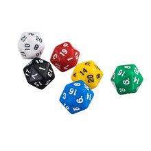 6 pces 20 tomou partido d20 dados coloridos para jogar d & d rpg jogo de tabuleiro favores e ensino de matemática