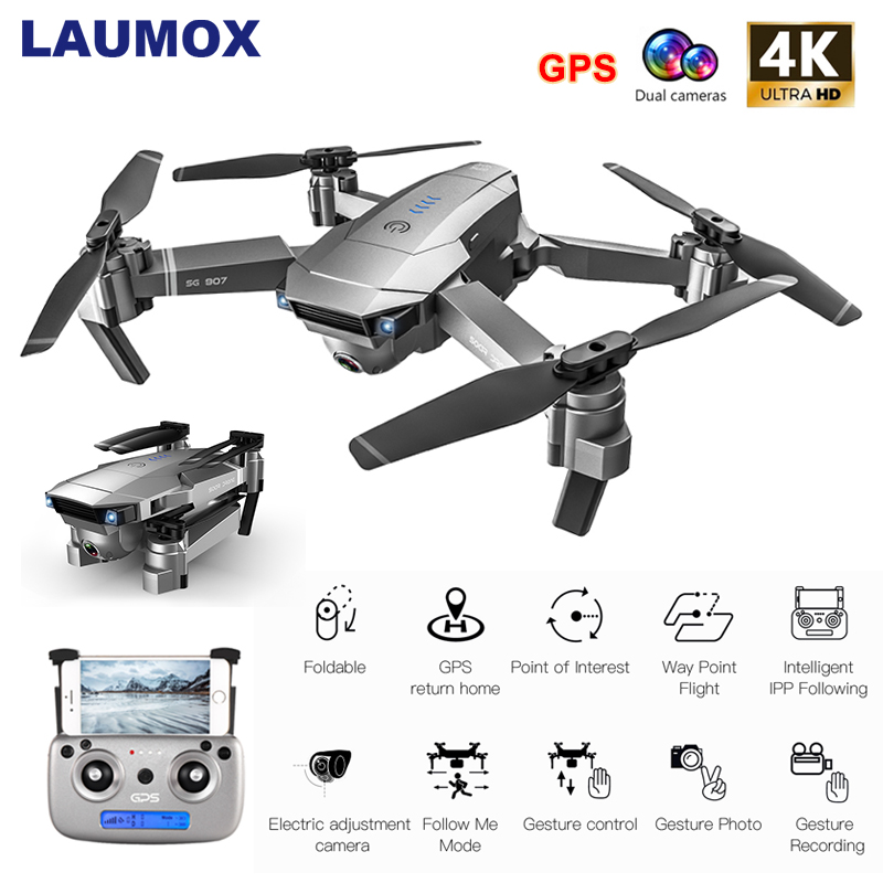 LAUMOX SG907 GPS Drone with 4K HD Camera Wide Angle WIFI FPV Optical Flow RC Quadcopter Professional Foldable Drones E520S E58