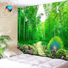 Bamboo Tapestry Peacock Wall Hanging Flowers Boho Decoration Psychedelic Wall Tapestry Multi-Function Bedroom Bedspread tapiz