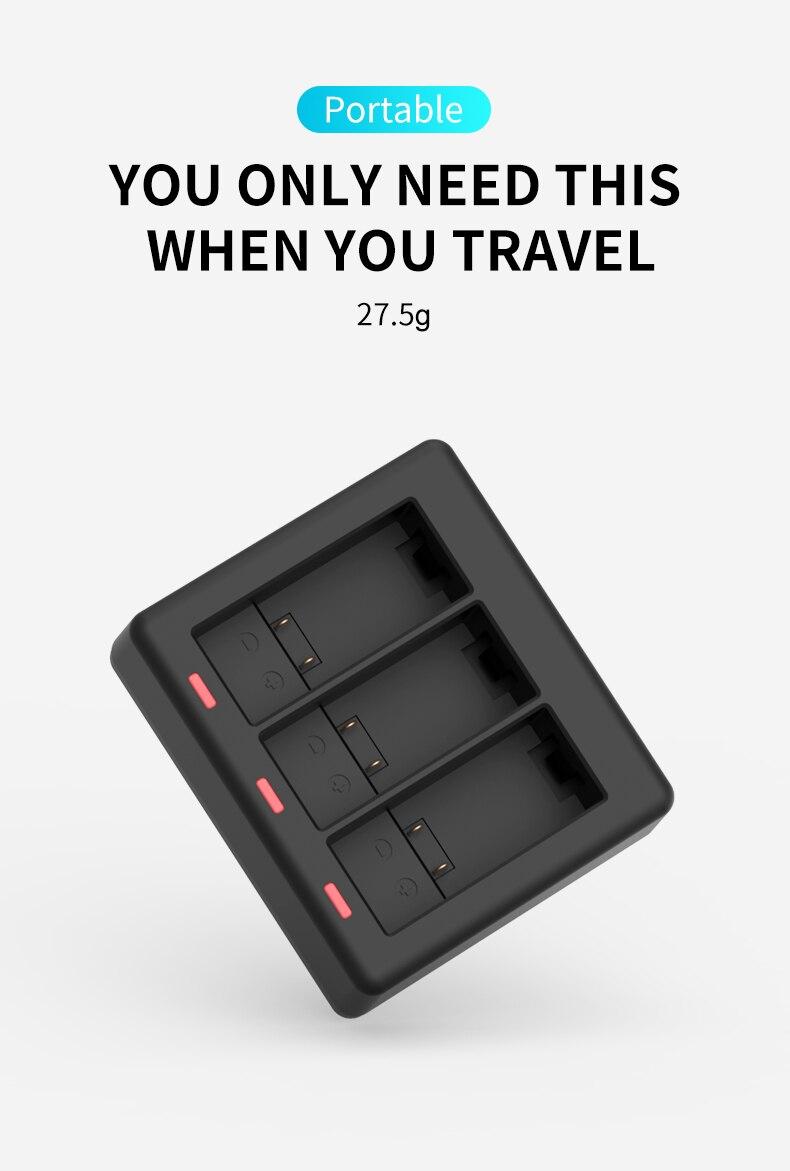 N//Z GoPro Cargador con 3 canales Bater/ías con cargador de 3 canales compatible con GoPro Hero 9 adaptador negro