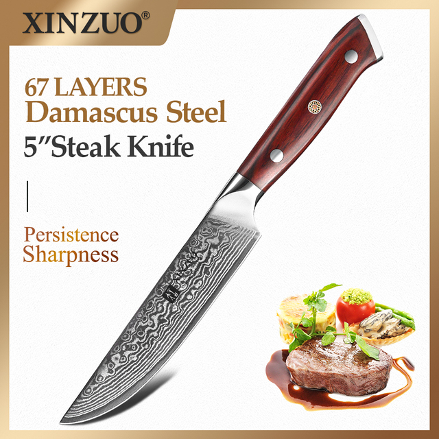 XINZUO 5 inch Steak Knife Damascus VG10 Steel Kitchen Knives High Quality Cutter Tools Utility Knife with Rosewood Handle