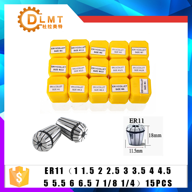 15pcs/set ER11 1-7MM Spring Collet High Precision Collet Set For CNC Engraving Machine Lathe Mill Tool