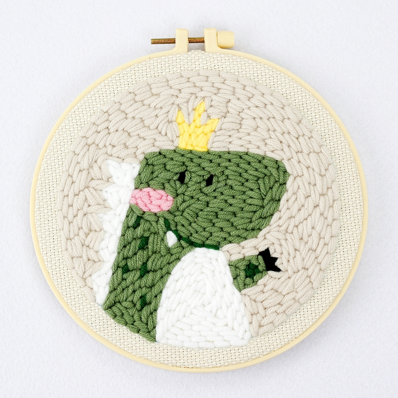 Dinosaur Punch Needle Kits for Starter, Contains Threader Fabric, Embroidery Hoop, Yarn, All Materials and Tool, Needle Full Set