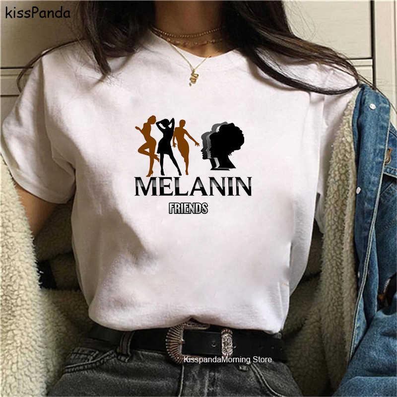 Melanin Poppin Aba Print Female T-shirt Black Girl Magic Rock Summer Black Tshirt Hip Hop Streetwear Aesthetic Pink Top 2020