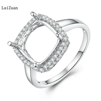 Sterling Silver Engagement Jewelry Semi Mount Cushion 10x10mm Real Diamond Ring
