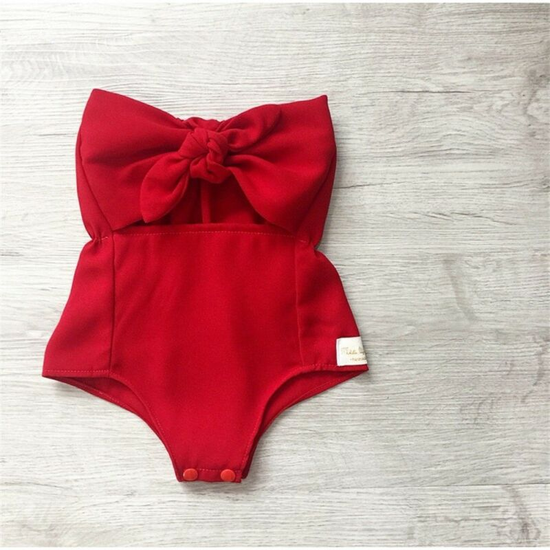 Emmababy Infant Baby Girl Clothes Off Shoulder Ruffles Solid Bodysuit Bowknot Outfits Off Shoulder Sunsuit
