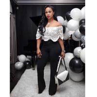 2019 Women Sexy Off Shoulder Flare Pants Jumpsuit Short Sleeve White Flower Lace Overall Streetwear Romper