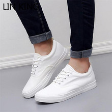 Canvas Shoes Men Outdoor-Sneakers Black White Fashion Man KING Solid Lace-Up LIN Increase