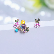 2019 New Trendy Design Asymmetric Earrings For Women Girls Lovely Bird Flower Multicolor Crystal Stud Earrings Jewerly Gifts(China)