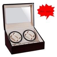 4 + 6 automatyczna nakręcarka zegarków drewniane zegarki uzwojenie przechowywanie kolekcja pudełek uchwyt wyświetlacz podwójna głowica cichy silnik Shake Box w Nawijarki do zegarków od Zegarki na