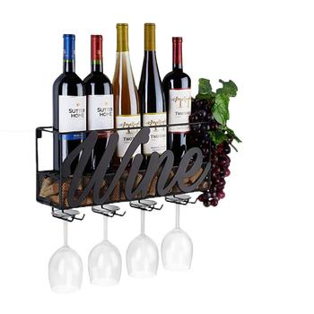 Naścienny stojak na wino korek do przechowywania pojemnik na kieliszki do wina stojak na kieliszki do wina stojak do przechowywania wina strona główna kuchnia dekoracja baru akcesoria tanie i dobre opinie CN (pochodzenie) Stojaki na wino Metal iron Wiadra Chłodnice i świeczki Ekologiczne Na stanie MA0062 42x11x19cm Black