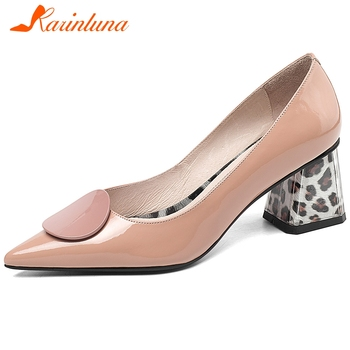 Karinluna New Arrivals 2020 Cow Leather Pointed Toe Office Lady Pumps Woman Shoes Slip On Chunky Heels Shoes Women Pumps