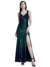 Элегантное женское вечернее платье с v образным вырезом градиентное