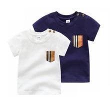 New 2021 fashion Newborn baby clothes T-shirt cotton stripes round neck short sleeve toddler baby boy girl tops 0-24 months