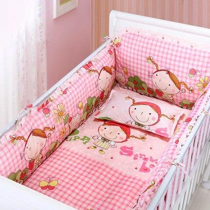 6pcs Baby Cot Crib Bedding Set Kit Berço Baby Bumper Strawberry Girl Crib Infant Room Decor (4bumpers+sheet+pillow Cover)