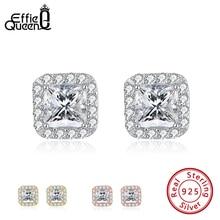 Effie Queen 925 Silver Stud Earring for Women with Big Luxury Crystal AAAA Zircon Earrings Jewelry  Wedding Party Gift BE247