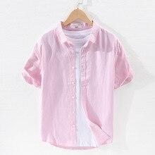 Shirts Short-Sleeve Beach Holiday Japan-Design Pure-Linen Casual Summer Men Soft Tops