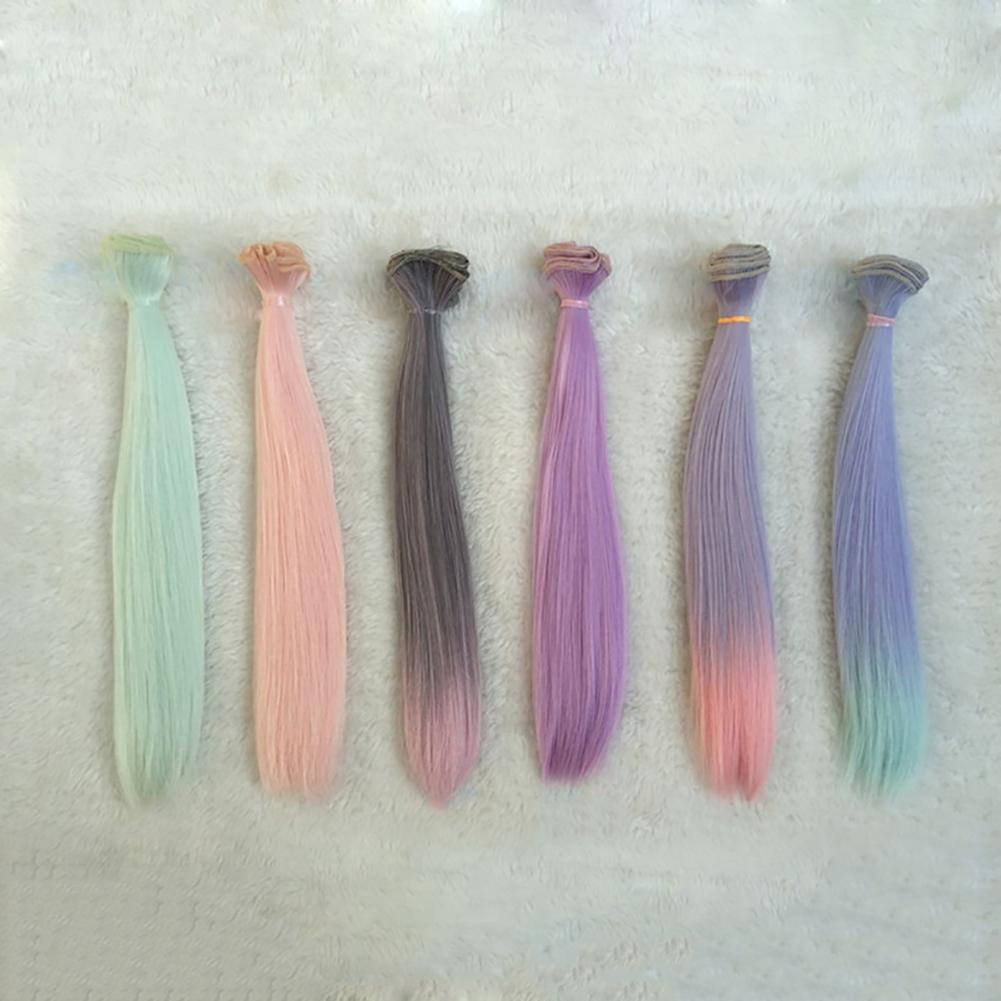 DIY Cute Straight Long Synthetic Faux Hair Wig Kids Dolls Gift Beauty Decor Dolls Accessories