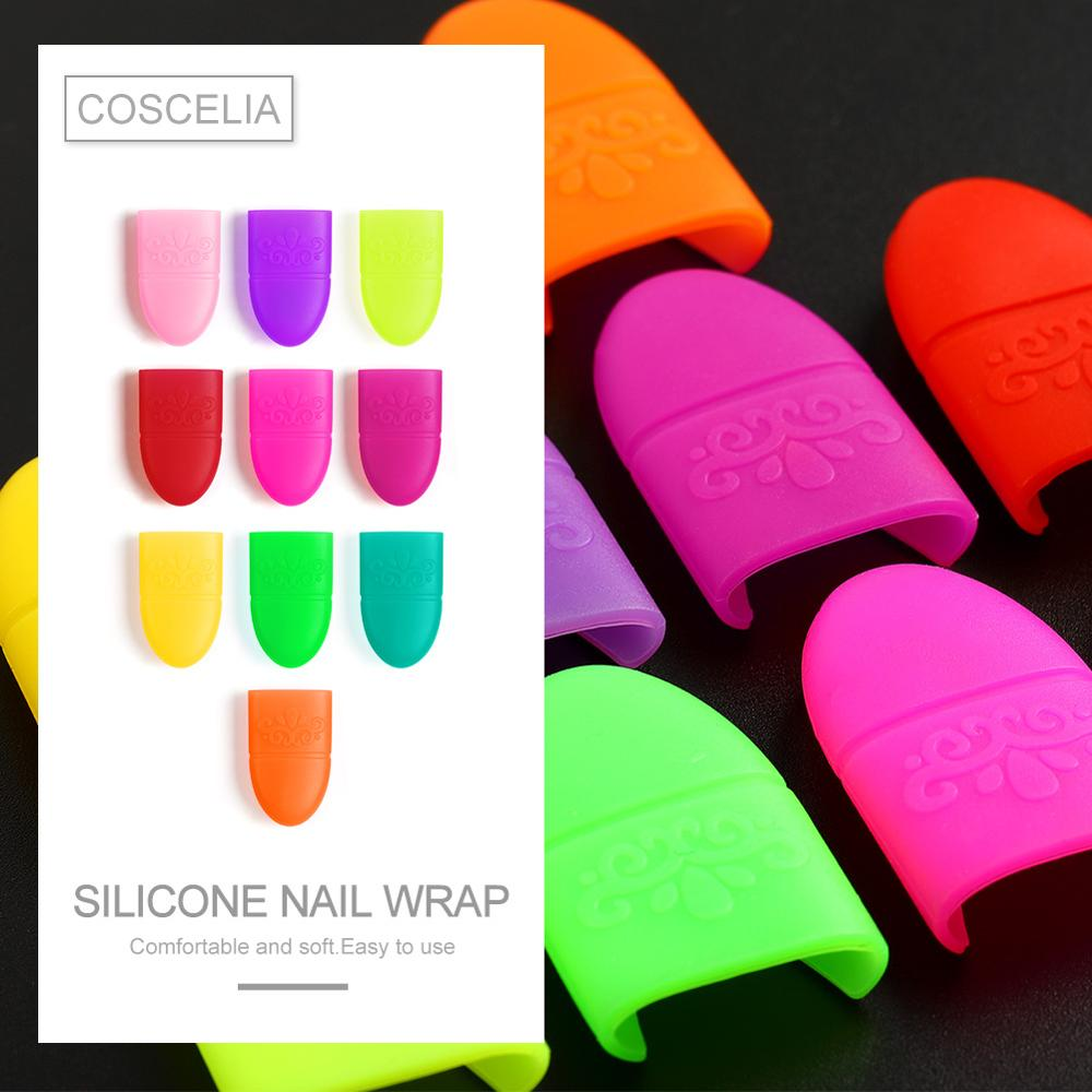 COSCELIA 10pcs Nail Art Gel Nail Polish Remover Wrap Nails Tips Gel Varnish Remover For Manicure Tools Tips UV Gel Soak Off Cap