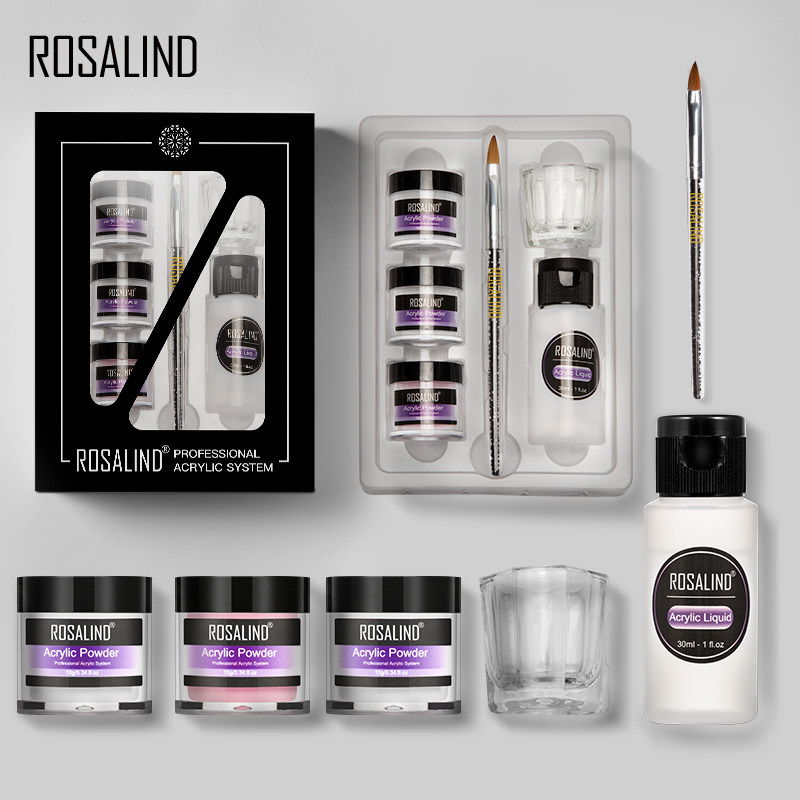 ROSALIND Acrylic Powder Set Dipping Carve Crystal Powder Gel For Nail Extension Builder Tools Manicure Set Acrylic Nail Kit