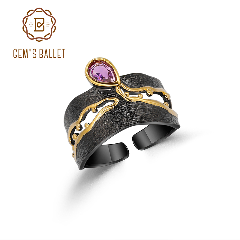 GEM'S BALLET 925 Silver Handmade Golden Bead Honey Raindrop Triangle Natural Amethyst Woman's Statement Adjustable Band Ring