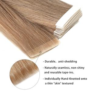 """Image 2 - Neitsi Natural Straight PU Skin Weft Adhesives Hair Extensions 16"""" 20"""" 24"""" Blonde Color Hand Tied Tape In Remy Human Hair"""