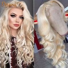 613 блонд тела волны 13x4 кружевные передние парики бразильские кружевные передние al человеческие волосы парики с детскими волосами Remy для жен...