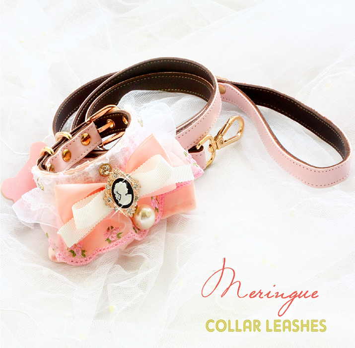 Pink Gril Heart Dog Collar Leash Sets Lace Bow Scarf Neckerchief Cat Dog Accessories Pet Necklace Maltese Poodle Chihuahua