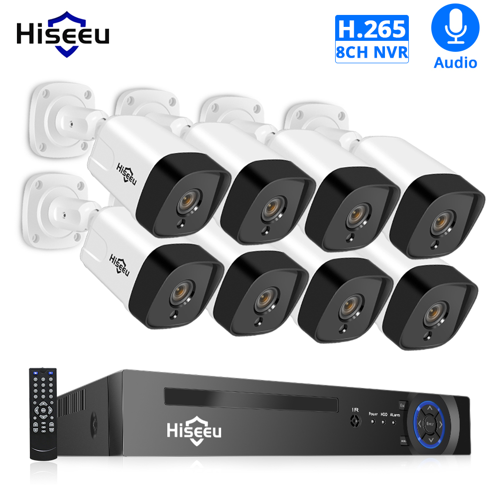 Hiseeu 8CH 1080P POE NVR CCTV Security System Kit H 265 2 0MP Audio Record IP