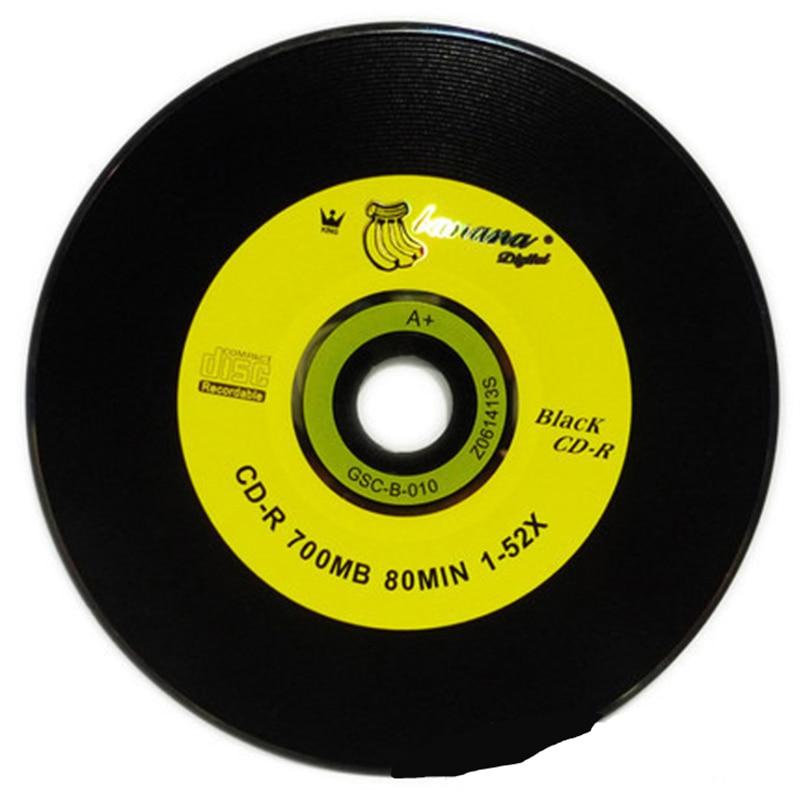 50pcs/lot Blank DJ Black Printed CD Drives CD-R Disks Bluray 700MB 80min 52X Branded Recordable Media Disc Spindle Write 2