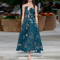 European runway dresses 2020 summer women high quality elegant o neck sleeveless blue lace mesh long party dress female