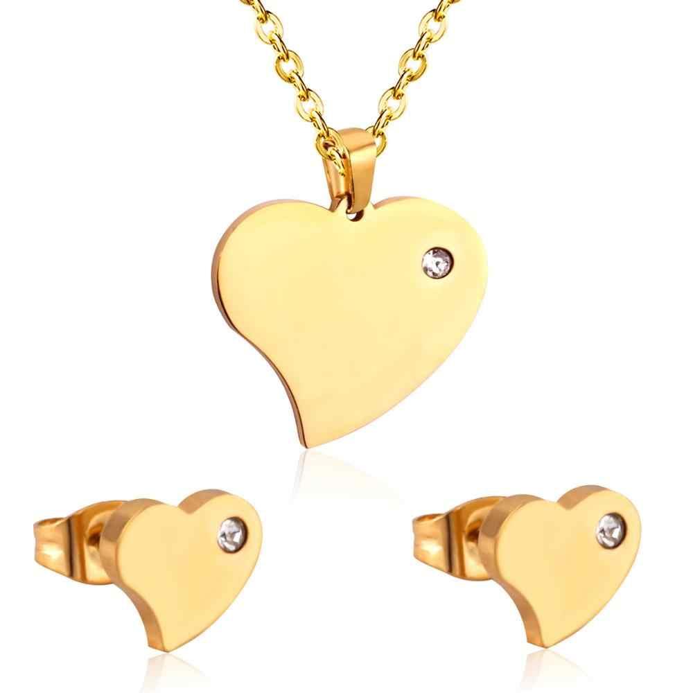 LUXUKISSKIDS זהב צבע נירוסטה דובאי חתונה כלה תכשיטי סטי לב שרשרת עגיל תכשיטי סטים לנשים ילדה
