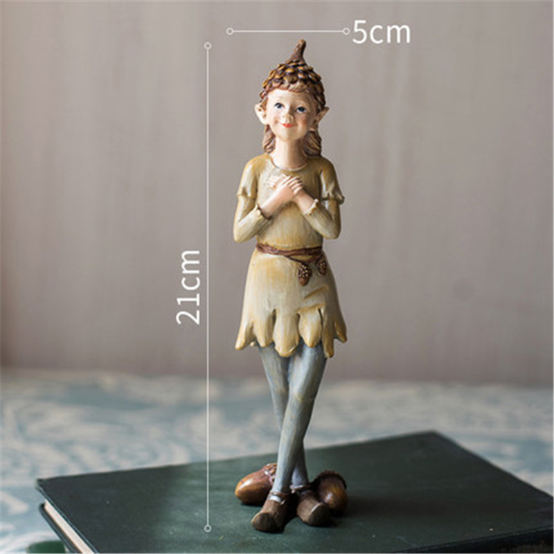 Hand Painted Character Resin Ornament Vintage Home Decor Fairy Garden Miniature Figurines Rustic Home Decor Accessories X5887