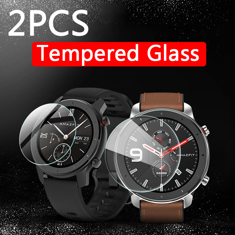 2pcs 9H Tempered Glass For Xiaomi Amazfit GTR 42mm 47mm Screen Protector Xiomi Amazfit GTR 42 47 Mm Smart Watch Protective Film