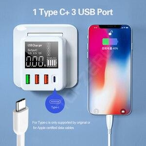 Image 3 - QC3.0 מהיר טעינת סוג C USB מטען 4 יציאות נייד טלפון מטען 30W LED תצוגה עבור iPhone סמסונג נסיעות קיר מטען