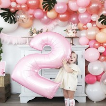 16 polegada figura do dígito de ar rosa número folha balão festa aniversário da menina decorações crianças chuveiro do bebê balões casamento