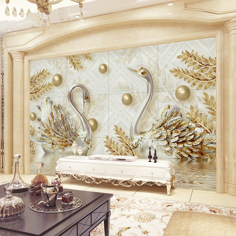 3D Relief Swan European Style Jewelry 5D Living Room 8D TV Wall Wallpaper Mural TV Backdrop Wallpaper